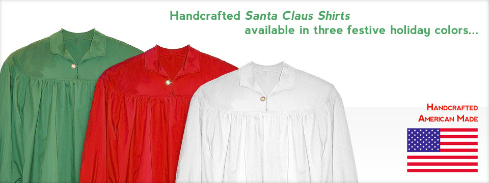 Handcrafted Santa Claus shirts available in three festive holiday colors