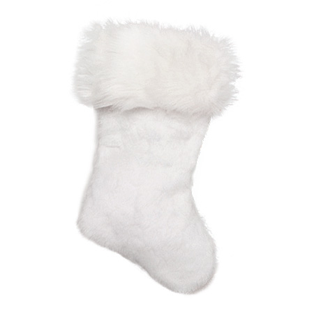 #3221W - White Velvet Plush Stockings