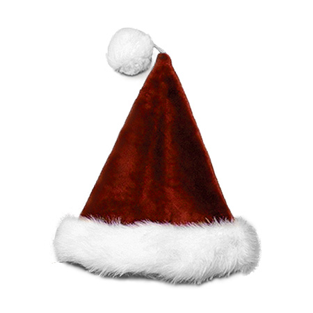 #6075-B Burgundy Velvet Plush Santa Hat
