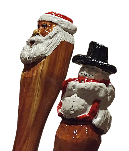 Hand Carved Cedar Santa Staffs